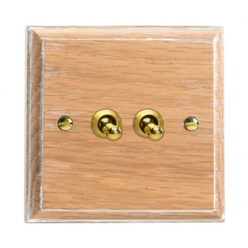 Varilight XKT2LO Kilnwood Limed Oak 2 Gang 10A 1 or 2 Way Toggle Light Switch